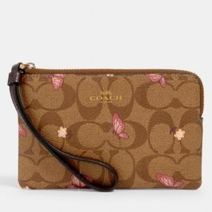 Corner Zip Wristlet In Signature Canvas Butterfly
